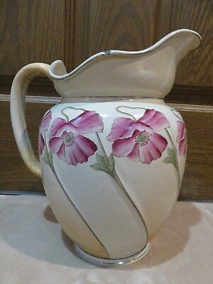 Large Antique Vintage French Enamel Water Pitcher ~ Handpainted Flowers