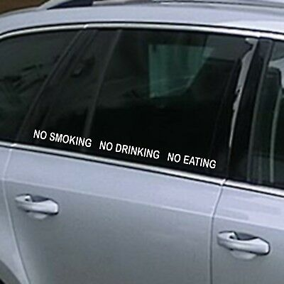 x 3 NO SMOKING EATING DRINKING TAXI Cab Car Window Vinyl Stickers Sign  55 x 2.5