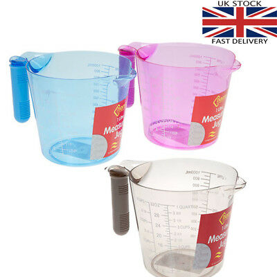 New 1 Litre Measuring Jug in High Quality Plastic Soft Grip Handle Food Graded