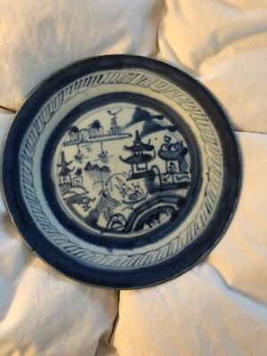Vintage Antique Blue White Canton Chinese China Late 19th Century Plate 2