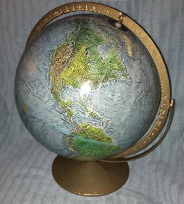 "Vintage Replogle Land & Sea Globe 12"" Diameter w/ Double Axis Swivel Metal Base"