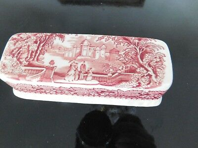 Mason's Vista Pink Red England Ironstone Butter Dish Lid Only