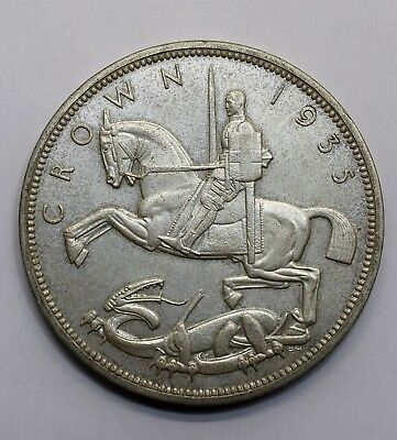 1935 UK 1 One Crown - George V Silver Jubilee Commemorative Issue - Silver Coin