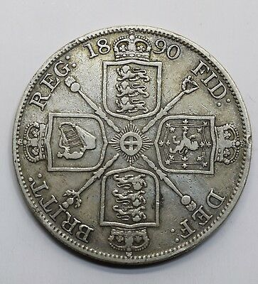 1890 UK 2 Tow (Double) Florins - Victoria 2nd portrait - 92.5% Large Silver Coin