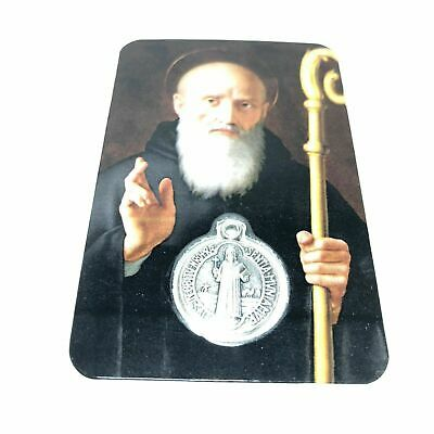👑 St. Benedict Holy Card with embedded medal - Exorcism - San Benito
