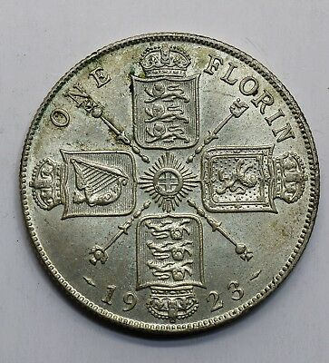 1923 UK 1 One Florin - George V - 50% Silver Coin