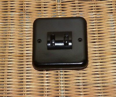 Vintage Crabtree Brown Bakelite 2 Gang Light Switch