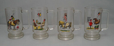 Thelwell Cartoon Pony Set Of 4 Glasses Glass Mugs Pony Club Horse Equestrian