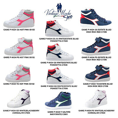 Diadora Game P High GS PS TD Calzature Scarpa Donna Uomo Bambino Sport Shoes