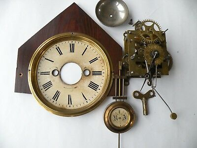 Antique clock parts, Mantel Wurttemburg Alarm, pendulum, key, face Vict. Gothic