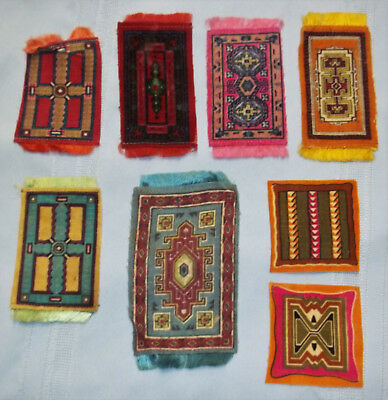 **6 Vintage Tobacco Felts/silks Fringed Tapestry Dollhouse Rugs & 2 Area Rugs**