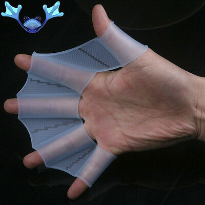 2PCS Silicone Hand Finger Webbed Swimming Fins Palm Gloves Scuba Flippers Swim