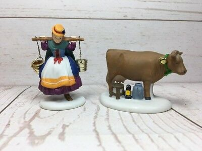 Dept 56 Dickens Village Twelve 12 Days of Christmas Eight 8 Maids A Milking Used