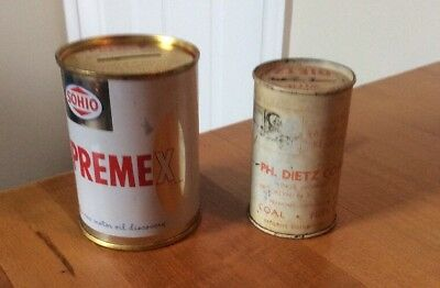 Lot 2 Vintage Motor Oil Dietz Coal - 1930's Brooklyn, NY & Sohio Cans Banks