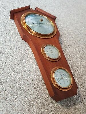Comitti of London 3 dial Barometer - wall mounted - Solid Wood & Brass