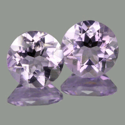 Natural Amethyst 6mm Round Cut 2pc
