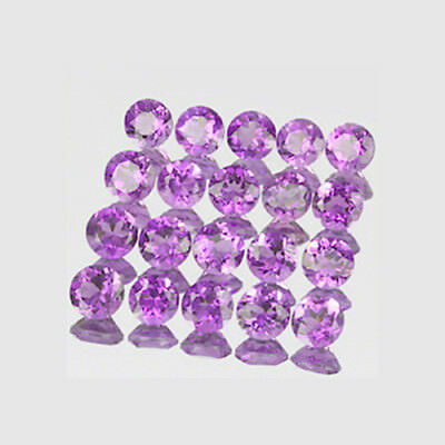 Natural Amethyst 3,5mm Round Cut 20pc - 3.01ctw