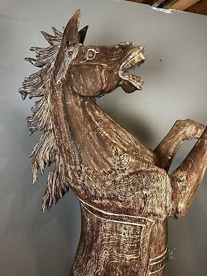 Horse Handcrafted rare Solid Chamca wood sculpture statue decorative outdoor