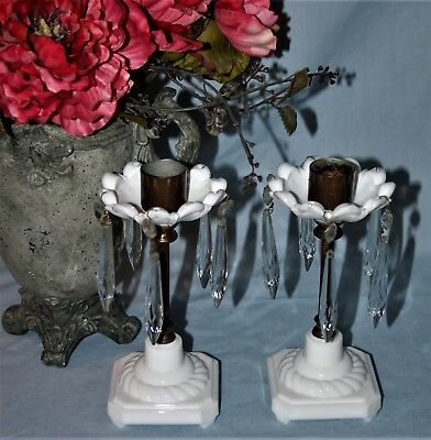Pair Vintage Milk Glass & Brass Candle Sticks Holders Crystal Prisms