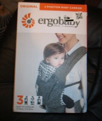 NEW Ergobaby Original 3-POSITION BABY CARRIER 12-45 LBS BABY TODDLER Black Twill