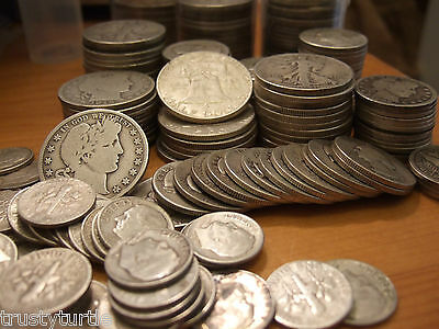 $1 90% Silver Premium Coins Lot Half Dollar Quarter Dimes Full Dates & Rim