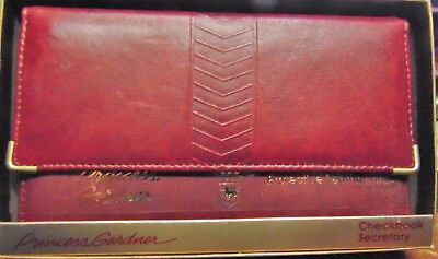 Vtg Princess Gardner Women's Checkbook Secretary Wallet Lambskin Burgundy New