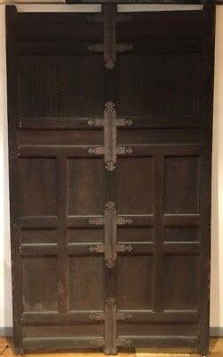LARGE 9 Foot Tall Antique Medieval Oak Gothic Doors Great Hardware!
