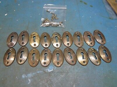 Lot of 18 Matching Genuine Antique Oval Skeleton Key Hole Covers w/ Screws