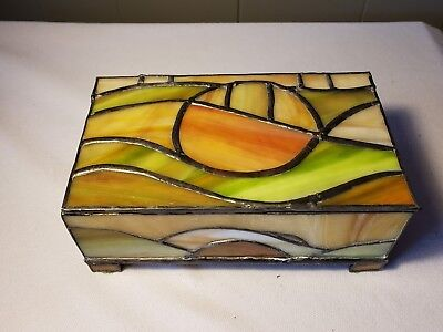 VINTAGE LEADED STAINED  GLASS  Footed JEWELRY BOX w/ music box