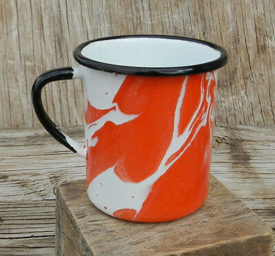 White & Orange Swirl Enamelware Graniteware Black Handle 8 Oz Tin Metal Cup Mug
