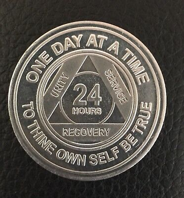 AA Alcoholics Anonymous Aluminium 24 Hour Recovery Sobriety coin token medallion