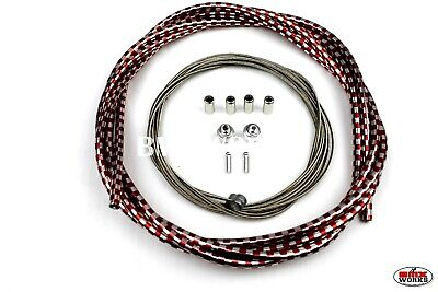 Checker Red /& Chrome Suit Front /& Rear ProBMX 5mm Lined BMX Brake Cable Set