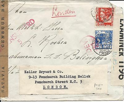 Netherlands Indies 1940 censored cover SMN PERFIN added and forwarded
