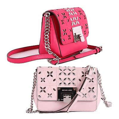 a635e9a37fce NWT Michael Kors TINA Leather Stud Small Clutch Crossbody Bag In Various  Colors