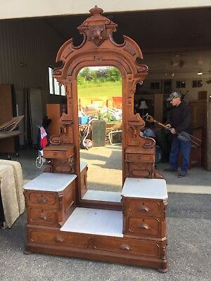 Large Antique American Victorian Walnut Step Down Marble Top Dresser With Mirror