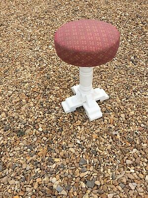 antique white round  single   leg  piano stool