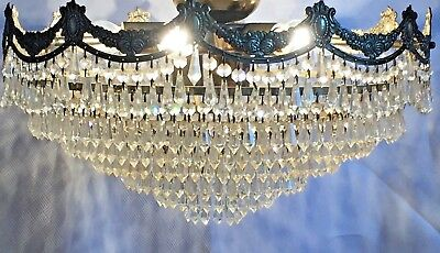 Fantastic Silver Brass and Crystal Chandelier, Antique, French/Spanish/Very Rare