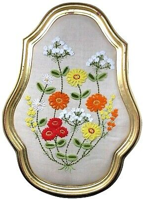 Antique Crewel Hand Embroidered Needlepoint Framed Picture Flowers