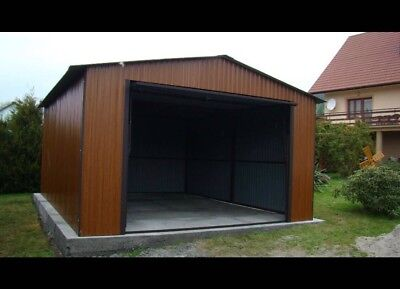 Steel Buildings, Double Garage Workshop, home office, timber effect cladding