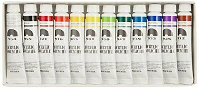 Nicker Acrylic paint Gouache 12 color set 11ml from Japan Free Shipping