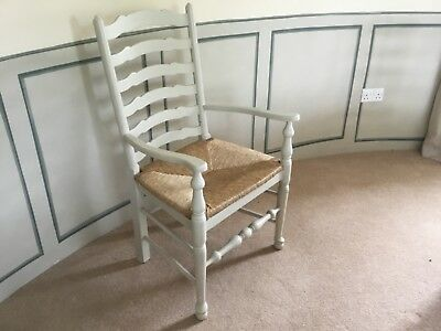8 Rush Seat Oak Ladder Back Carver Dining Chairs Painted