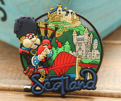 Scotland Bagpipe Player Tourist Travel Souvenir 3D Rubber Fridge Magnet GIFT
