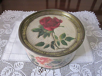 Large Vintage Swallows Biscuit Tin With Roses Pattern
