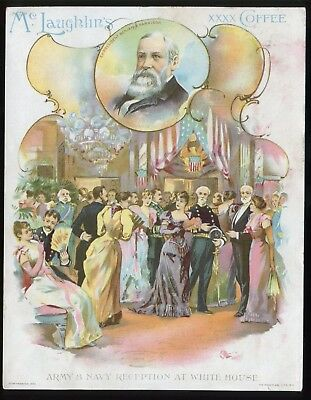 """Lot 49: 1880's McLaughlin's Coffee """"Army Navy Reception at White House"""" Card"""