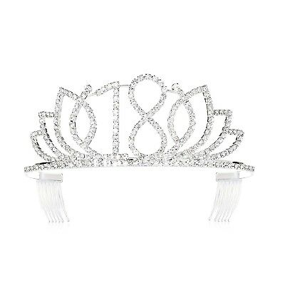 DcZeRong Princess Sweet Girls 18 Birthday Tiara Crown Silver Rhinestone Crystal