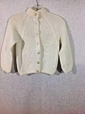 Vintage Penney's Girls Size 12 Sweater Jacket Button Down Acrylic Off White