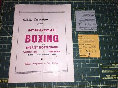 Original Vintage Boxing Program And Tickets Randolph Turpin Dated 1955