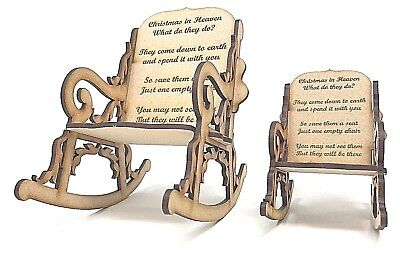 3D Rocking Chair with Christmas Heaven wording, Gift for the loss of a loved one