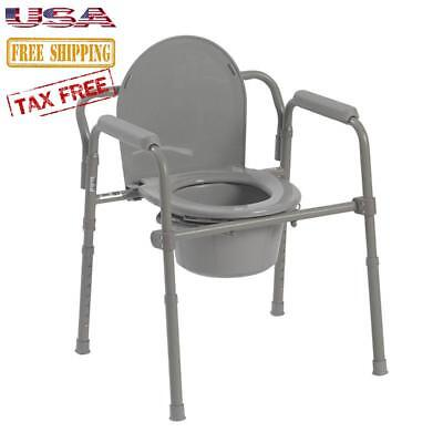 Adult Toilet Seat Potty Commode Chair Bedside Folding Bariatric Folds Portable