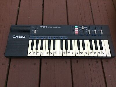 Vintage Retro 80's CASIO PT-100 Electronic Synthesizer Keyboard Tested & Works !